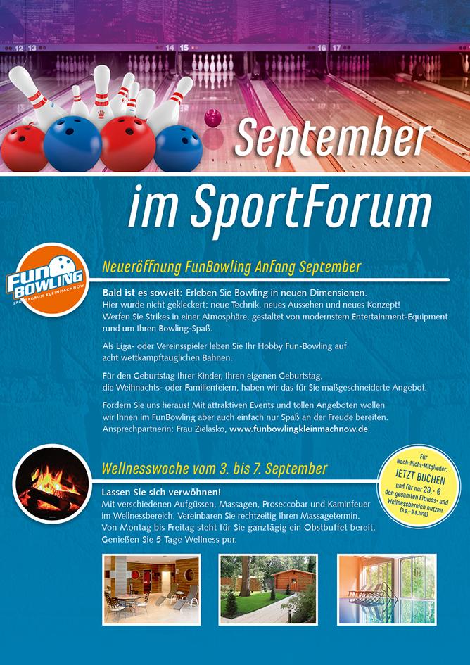Fitnessstudio Kleinmachnow,  Wellness,  Sauna,  Badminton; Tennis,  Bowling,  SportForum Kleinmachnow